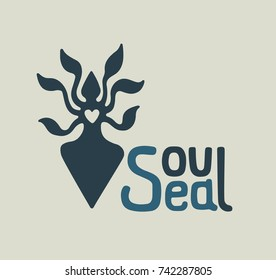Hand drawn ink ecology design with hand lettering for soul. Soul Sea logo for eco label letters. Vector font illustration for print letters on t-shirt or cover notebook.