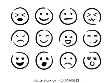 Hand drawn ink emojis faces. Doddle emoticons sketch, ink brush icons of happy sad face, vector illustration