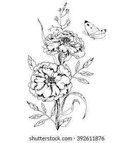 Black and white marigold images stock photos vectors shutterstock hand drawn ink floral ornament with flowers marigolds and leaves on white background butterfly flying mightylinksfo