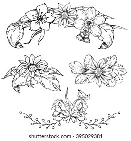 hand drawn ink floral ornament with flowers and leaves, butterfly. vector eps 10