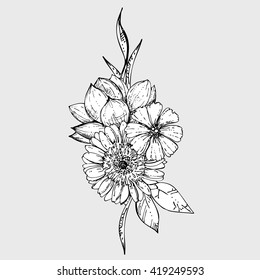hand drawn ink floral ornament with flowers cosmos, gebera, lotus. vector eps 10