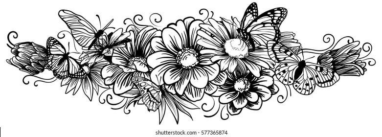 Hand drawn ink flower vignette