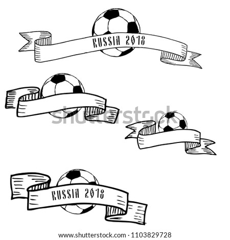 Hand drawn ink frames with football ball