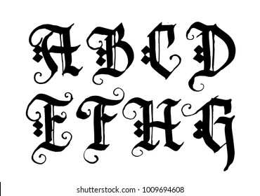 Hand drawn ink gothic style lettering alphabet. Typographic decorative font.Letters A,B,C,D,E,F,G,H