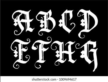 Hand drawn ink gothic style lettering alphabet. Typographic decorative font.Letters A,B,C,D,E,F,G,H on a black font