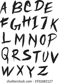 Hand Drawn Ink Graffiti Style Doodle Font Isolated Vector Illustration. Ink Fonts.
