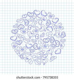 Hand drawn ink hearts on a notebook piece of paper. Valentineâ??s day vector illustration for a love card or invitation.