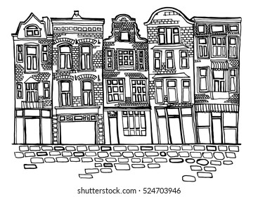 Hand drawn ink illustration of Amsterdam city