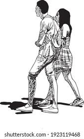 illustration à l'encre dessinée à la main d'un jeune couple noir et blanc marchant, habillé en vêtements d'été, isolé sur fond blanc, jour ensoleillé, ombres sur terre, homme avec un sac à dos