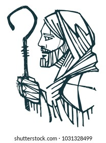 Hand drawn ink illustration or drawing of Jesus Christ Good Shepherd