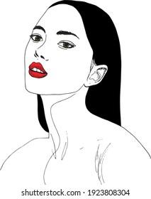 illustration à l'encre dessinée à la main du portrait du visage d'une jeune femme ou d'une fille avec un rouge à lèvres, yeux verts, longs cheveux noirs, isolés sur fond blanc