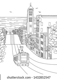 Hand drawn ink illustration of Inner Sunset in San Francisco, with St. Anne's church and a cable car