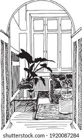 illustration à l'encre dessinée à la main d'un salon, d'un intérieur, avec un canapé ou un canapé avec mobilier, une plante en pot, un vase avec des fleurs dedans, une moquette, deux petites tables basses, un placard à l'arrière
