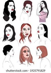 illustration à l'encre dessinée à la main de neuf femmes ou filles, portraits à la tête ou à l'épaule, isolés sur fond blanc, ils ont les cheveux noirs ou marron et les lèvres rouges, ils sont asiatiques ou caucasiens