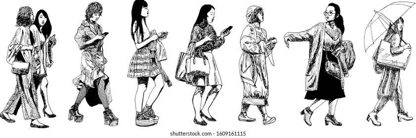 hand drawn ink illustration of a set of casual japanese women walking isolated in a white background