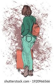 illustration à l'encre dessinée à la main d'une femme debout, vue de son dos, portant un sac à dos orange et tenant une valise orange, sur fond grunge marron, elle a les cheveux brun courts et les chaussures marron