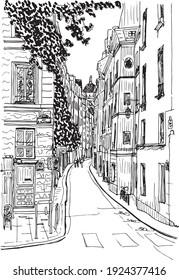 illustration à l'encre dessinée à la main d'une rue à paris, quai de la tourelle, en noir et blanc