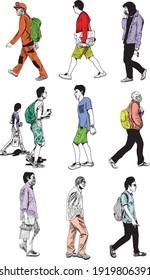 illustration dessinée à la main de dix hommes marchant, vêtus de vêtements urbains (printemps, été et automne), isolés sur fond blanc