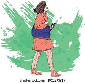 illustration à l'encre dessinée à la main d'une femme marchant tenant une cigarette électronique, portant un sac à main violet, portant des vêtements d'hiver, sur fond grunge vert