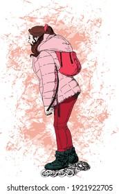 illustration à l'encre dessinée à la main d'une femme debout, patins à roulettes en ligne, avec un sac à dos rouge, une veste d'hiver à la pêche et un pantalon rouge, sur fond grunge à la pêche