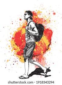 illustration à l'encre dessinée à la main d'un jeune homme avec une casquette, vêtu de vêtements d'été, portant un sac à dos noir et marchant sur fond grunge coloré (rouge, jaune, rose et marron)