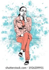illustration à l'encre dessinée à la main d'une jeune femme portant des lunettes, assise sur un banc, fumant une cigarette, portant des vêtements orange (pantalon et veste), sur fond grunge bleu