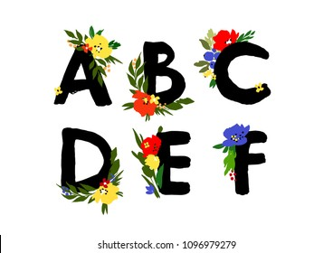 Hand drawn ink lettering with the flavors.  Floral typographic alphabet   design. Wedding font with flowers. Letters A,B,C,D,E,F