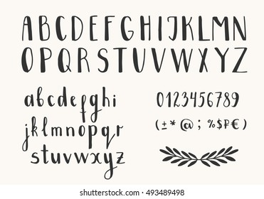 Hand drawn ink letters. Vector font. Isolated.