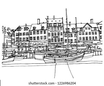 Hand drawn ink line sketch European town Amsterdam , the Netherlands with buildings, canal, boats in outline style. Ink drawing of cityscape. Street perspective view.