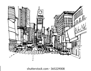 Hand drawn ink line sketch New York city. Times square with buildings,skyscrapers,  people, cars, streets in black white style. Ink drawing of city scape.