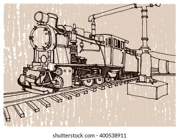 Hand drawn ink line sketch train, steam locomotive illustration in perspective view. Postcards design.