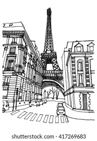 Hand drawn ink line sketch European town Paris, France  with buildings, Eiffel tower  in outline style. Ink drawing of cityscape. Street perspective view.