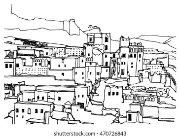 Hand drawn ink line sketch African town Morocco,  with buildings, mosque, in outline style. Ink drawing of cityscape.The Kasbah Ait Ben Haddou. Street perspective view.
