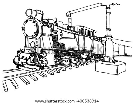 Hand Drawn Ink Line Sketch Train Stock Vector Royalty Free