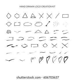 Hand drawn ink logo creation kit including geometric shapes, hearts.
