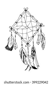 Hand drawn with ink magical dream catcher with feathers. Native American Indian talisman isolated on white. Ethnic design, bohemian chic, tribal amulet