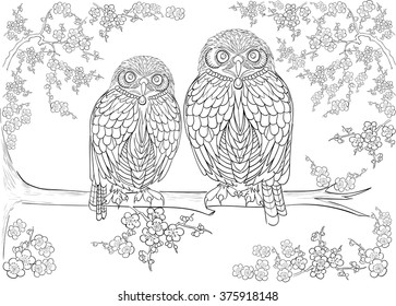 Hand drawn ink pattern. Coloring book Coloring for adult owl