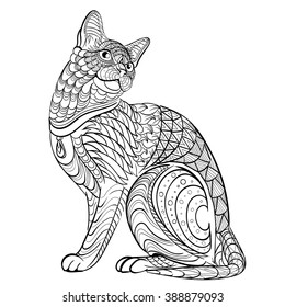 Hand drawn ink pattern. Coloring book for adult. Vector illustration cat