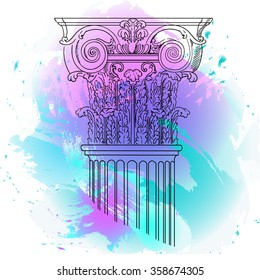 Hand drawn ink pattern Column on a water color background. Turquoise and violet