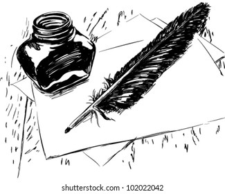 Hand drawn ink quill and bottle illustration