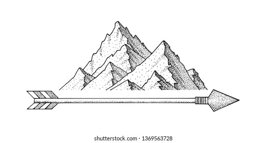 Hand drawn ink sketch mountain, minimalist dots style mountain travel, stock vector graphic illustration