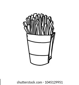 Hand Drawn Ink Sketch of Pack of salty French Fries on White Background
