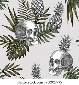Hand drawn ink skull pineapple with tropical leaves on the light background. Seamless vector pattern wallpaper