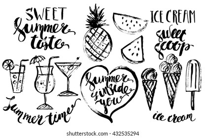 Hand drawn ink summer design elements set. Rough black ink sketch of watermelon sections, pineapple and cocktail drinks, ice cream with summer lettering.