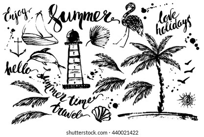 Hand drawn ink summer design element set. Rough black ink sketch of lighthouse, dolphin, boat, palm tree, palm leaves, flamingo, anchor, sun, birds with summer lettering and ink drops.