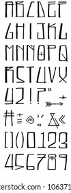 Hand drawn ink vector illustration or drawing of an urban style modern font