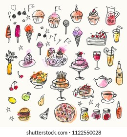 Hand drawn ink and watercolor stain doodle food set. Design elements for party invitation or menu background. Cake, pizza, burger, fruits, tea, wine, drinks, ice cream, muffin, cupcake, jam.
