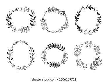 Hand drawn ink wreath collection. Vector floral wreaths on white background. Botanical set with round frames with flowers, leaves, branches and plants
