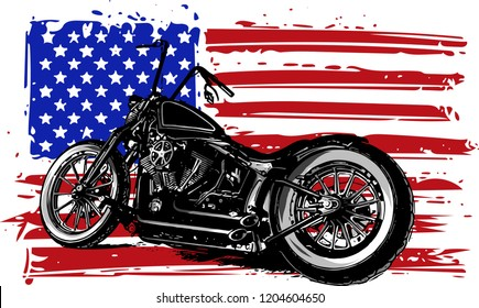 Hand drawn and inked vintage American chopper motorcycle with american flag