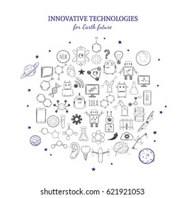 Hand drawn innovative technologies elements collection with inventions in chemistry physics medicine and robotics isolated vector illustration